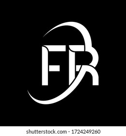 FR Letter Logo Design. Initial letters FR logo icon. Abstract letter FR F R minimal logo design template. F R Letter Design Vector with black Colors. fr logo