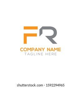 FR Letter Logo Modern Business Vector Template. Initial FR Logo Design With Orange and Grey Color