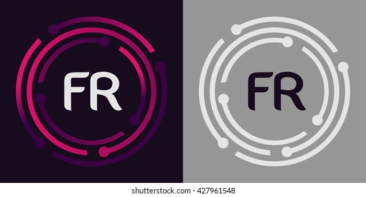 FR letters business logo icon design template elements in abstract background logo, design identity in circle, alphabet letter