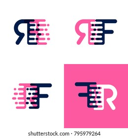 FR letters logo with accent speed in pink and drak purple