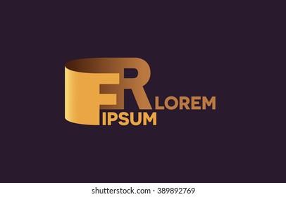 FR letters logo, F and R letters logo alphabet design.