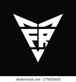 FR Logo monogram with back drop shape logo design template