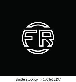 FR logo monogram with negative space circle rounded design template
