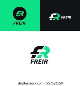 FR logo sign company icon vector design