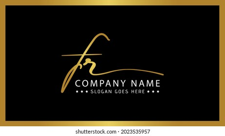 FR monogram logo, Signature style Golden typographic icon with script letters f and r, Lettering sign isolated on black background, Calligraphic hand drawn alphabet initials Modern and elegant style.