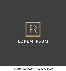 FR. Monogram of Two letters F & R. Luxury, simple, stylish and elegant FR logo design. Vector illustration template.