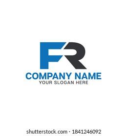 FR. Monogram of Two letters F & R.simple, stylish and elegant FR logo design. Vector illustration template.