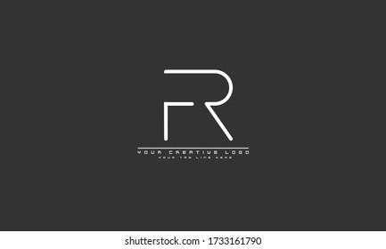 FR RF abstract vector logo monogram template