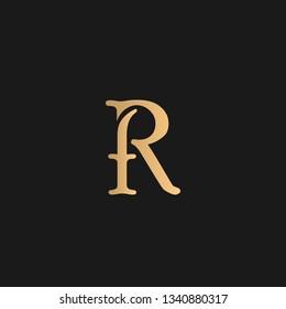 FR or RF logo vector. Initial letter logo, golden text on black background
