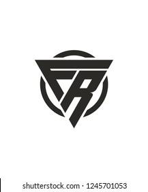 FR RF Triangle Logo Circle Monogram Design