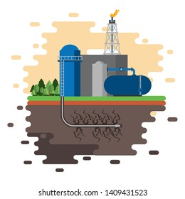 Fracking zone, oil pump with tank extracting petroleum from suboil with pipes. vector illustration graphic design