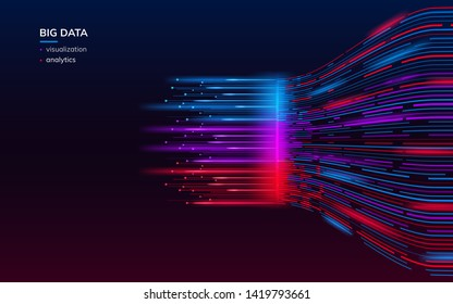 Fractal elements with lines for big data analysis visualization. Complex bigdata connection or abstract futuristic technology. Information connection wallpaper. Data array visual concept. Analyze