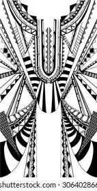 Fractal geometric print,free hand drawn in vector