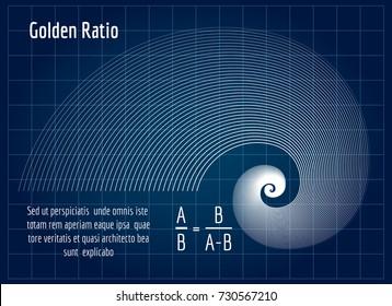 Fractal lines golden spiral mean ratio proportion section on blue background, vector illustration