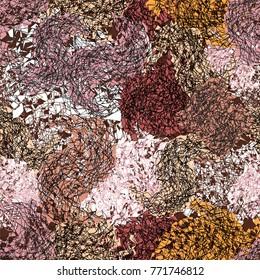 Fractal semless grunge  grid pattern in pastel violet,brown,pink,white,orange colors