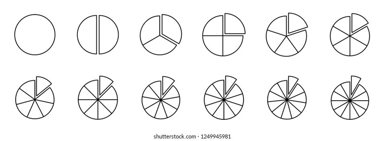 Fraction pie divided into slices. Fractions. Fraction Pies. Vector flat outline icon illustration isolated on white background.