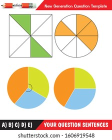 Fraction problems, representation of fractions, mathematical shapes