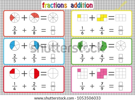fractions addition printable fractions worksheets kids stock vector  fractions addition printable fractions worksheets for kids  fraction  addition problems add two fractions
