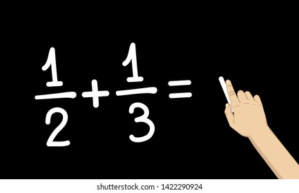 fractions calculation on blackboard, hand holding chalk