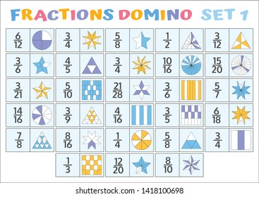 Fractions Domino Mathematical Puzzle. Math Game. Vector illustration.
