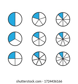 Fractions for education.Fraction pie divided into slices. Ratio and parts linear vector icons. Vector
