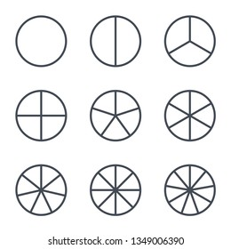 Fractions vector icons. Pie chart line circles. Ratio and parts linear vector icons.