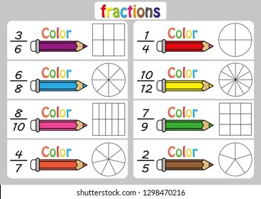 Fractions worksheet, Fraction Review, fraction practice, educational, Equivalent Fractions, math activity for kids