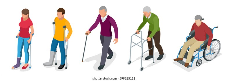 Fracture of leg or leg injury. Young and old people in a gyse with crutches, a wheelchair. Rehabilitation after trauma. Orthopedics and medicine. Flat 3d vector isometric illustration