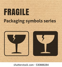 FRAGILE or Breakable Material packaging symbol on a corrugated cardboard background. For use on cardboard boxes, packages and parcels. EPS10 vector illustration