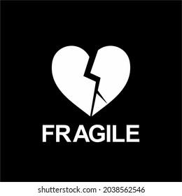 Fragile Broken Heart-shaped Illustration. Packing Icon Symbol for Valentine Day Gift. Standard Packing Label for Valentine Day Gift. Vector Illustration