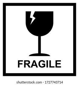 Fragile flat icon with crack and black frame isolated on white background. Fragile package symbol. Label vector illustration