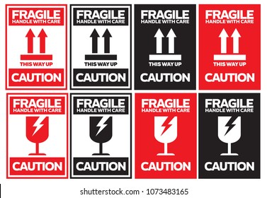 Fragile Handle with Care Caution Sticker or Label, Vector EPS 10
