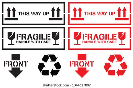 Fragile Handle With Care Graphic for Shipping Stencils Collection, Vector EPS 10.