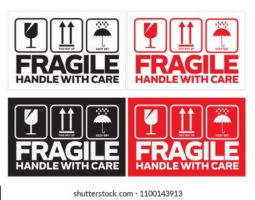 fragile handle with care sign for shipping, sticker or label, vector eps 10.