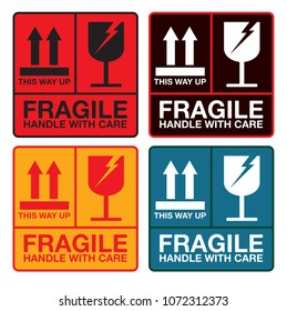 fragile handle with care sign  sticker, vector eps 10.