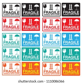 Fragile Handle with Care Sticker or label Collection. Vector EPS 10
