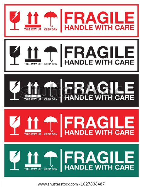 Fragile Handle Care Sticker Label Collection Stock