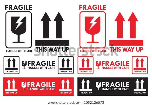 Manejo Frágil Con Cuidado Y Este Símbolo De Subida Para El Transporte De Paquetes Vectoriales Eps