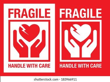 fragile heart vector symbol