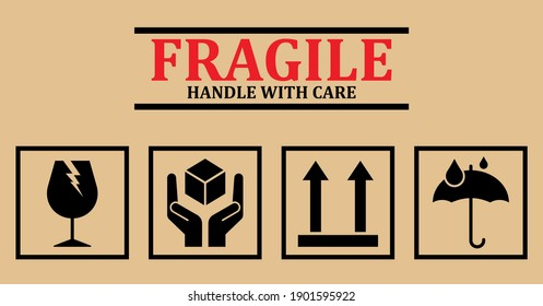 Fragile icons. Set Of Packaging Symbols (this side up, handle with care, fragile, keep dry)
