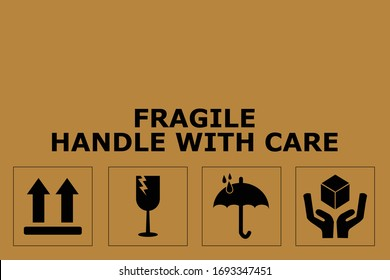 Fragile or Package Label stickers set. (Fragile, Handle with Care, This Way Up, Keep Dry). black in color with brown background. Square format. EPS 10 vectors.