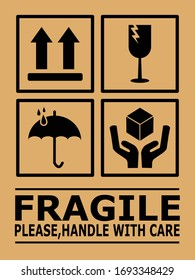 Fragile or Package Label stickers set. (Fragile, Handle with Care, This Way Up, Keep Dry). black in color and brown background. Square format. EPS 10 vectors.