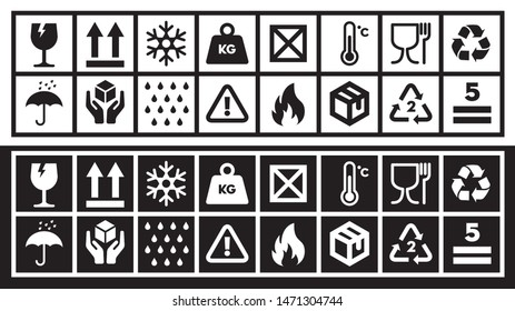 Fragile Packing and Shipping Symbol Collection. Cardboard Box Logistics  Cargo Transportation warning Icon set.
