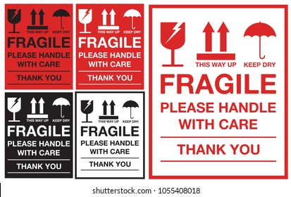 Fragile Please Handle with Care Sticker or label Collection. Vector EPS 10