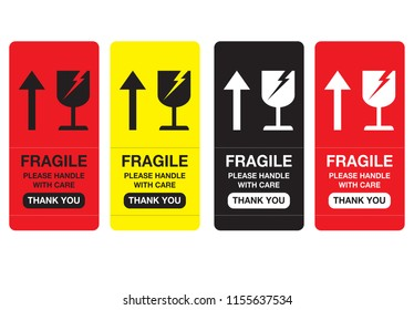 Fragile please handle with care, Thank You Sticker, Vector EPS 10