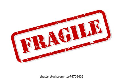 Fragile red rubber stamp vector isolated