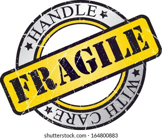 fragile rubber stamp yellow black and gray vector illustration