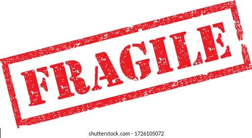 Fragile Stamp. Red Text Rubber Stamp Ink - Vector.