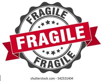 fragile. stamp. sticker. seal. round grunge vintage ribbon fragile sign