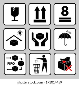 fragile sticker handle with care icon packaging symbols sign red keep dry fifo system do not litter do not step